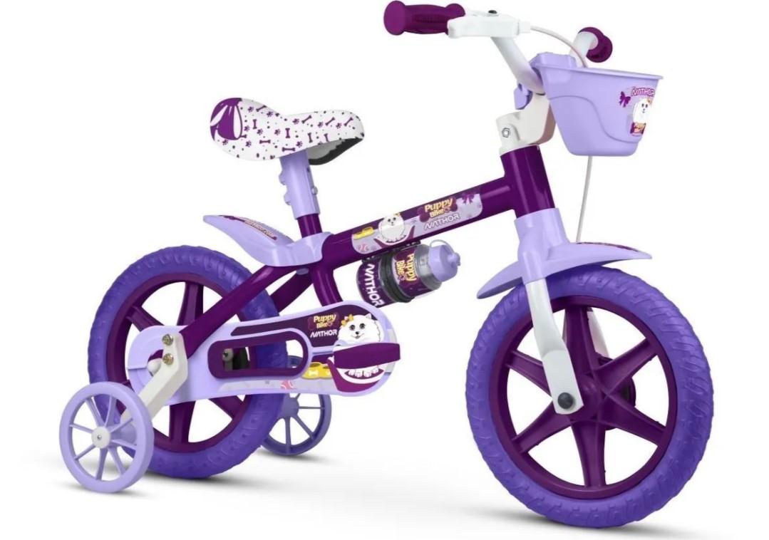 Bicicleta Infantil Nathor Aro 12 Puppy Com Cesta Roxa