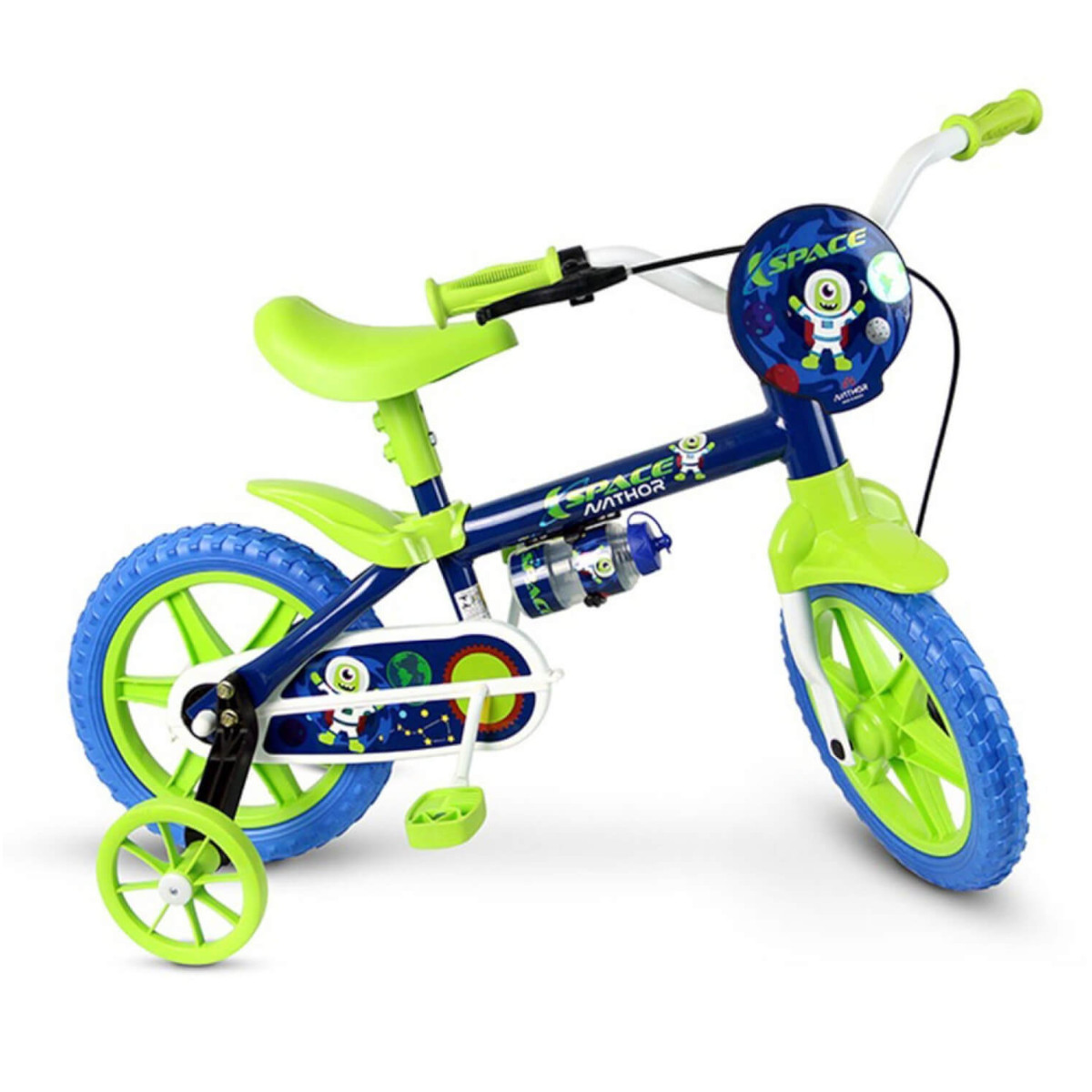 Bicicleta Infantil Nathor Azul Verde Aro 12 Rodinha Garrafa