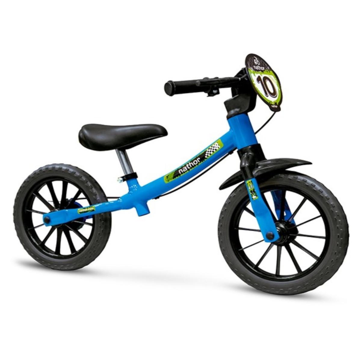 Bicicleta Infantil Nathor Balance Azul Aro 12 Equilíbrio