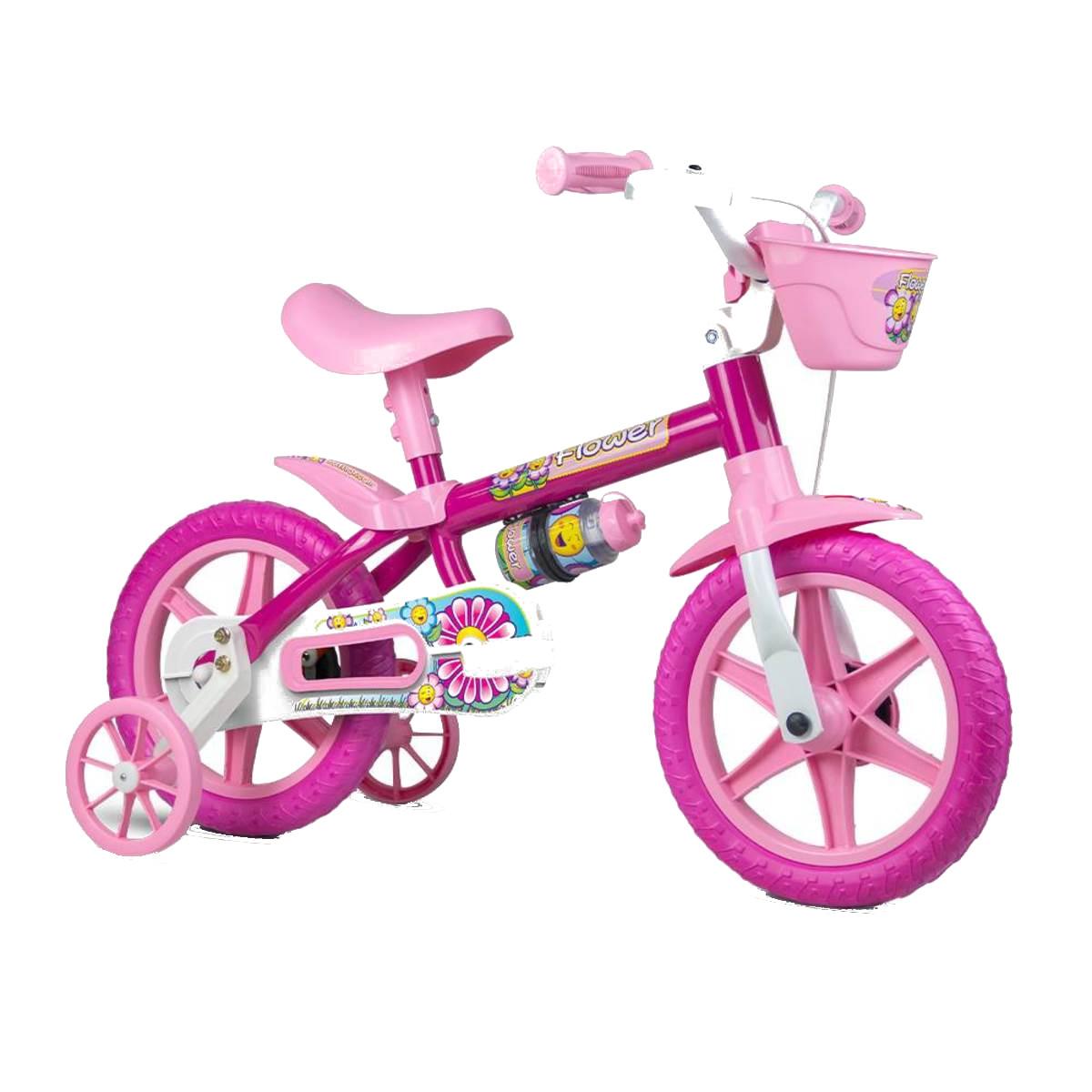 Bicicleta Infantil Nathor Flowes Rosa Aro 12 Com Cesta