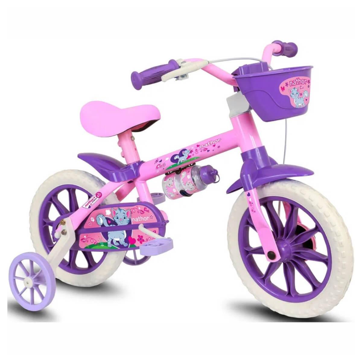 Bicicleta Infantil Nathor Rosa Roxo Aro 12 Rodinha e Cesta