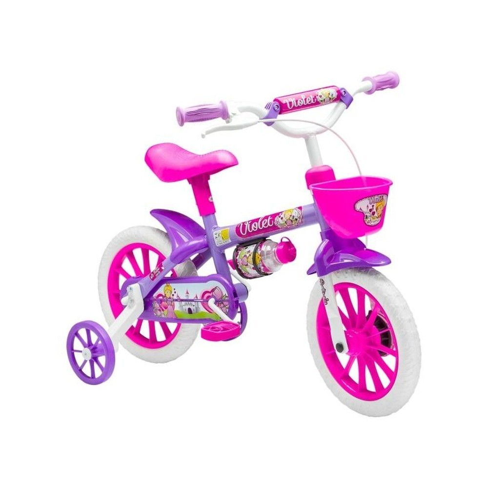 Bicicleta Infantil Nathor Violeta Aro 12 com Rodinha