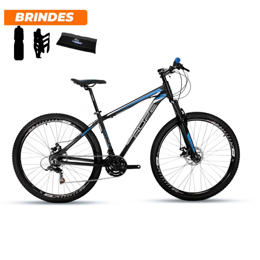 Bicicleta Mtb Aro 29 Hope 24v Câmbios Shimano Preto e Azul