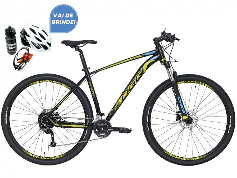 Bicicleta MTB Oggi Big Wheel 7.0 Preto e Amarelo Altus 18v