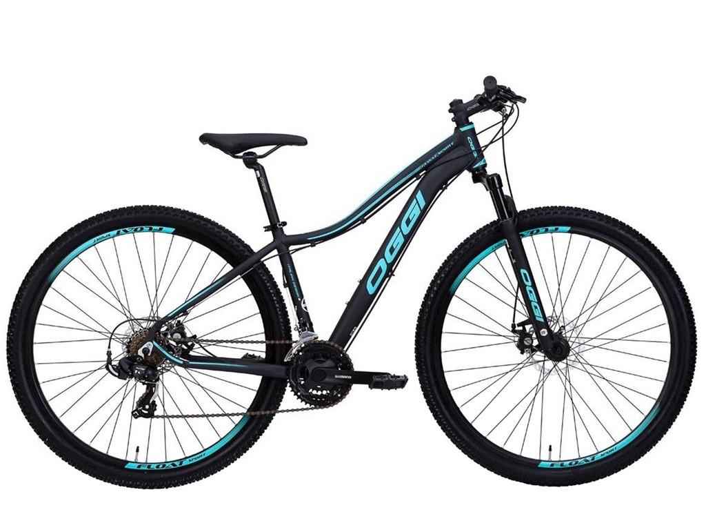 Bicicleta MTB Oggi Float Sport Preto/Tiffany 17 Tourney 21v