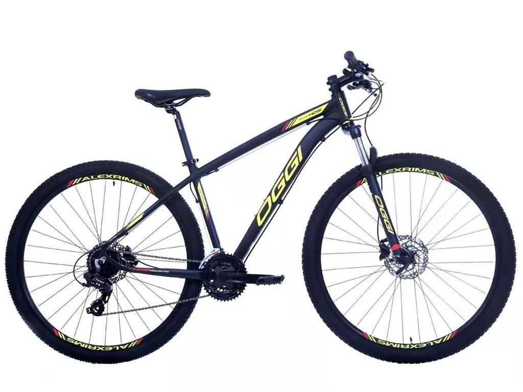 Bicicleta MTB Oggi Hacker Hds Preto e Amarelo Tourney 24v