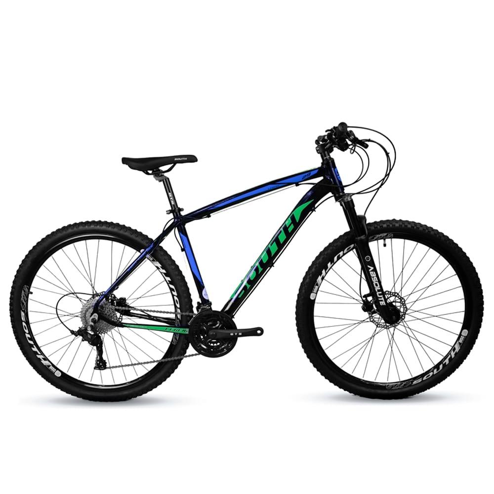 Bicicleta Mtb South Legend 24v Câmbio Shimano Azul e Verde