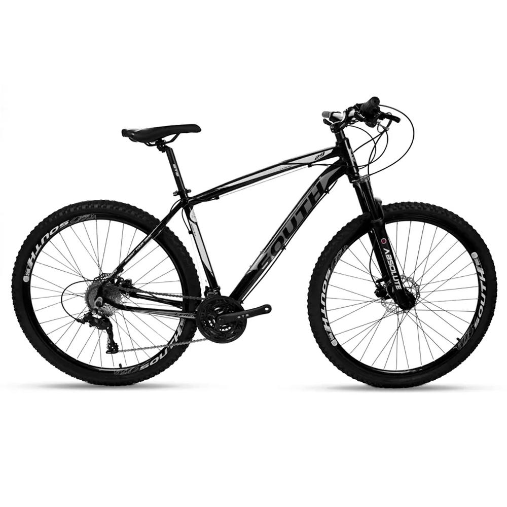 Bicicleta Mtb South Legend 24v Câmbio Shimano Pto e Branco