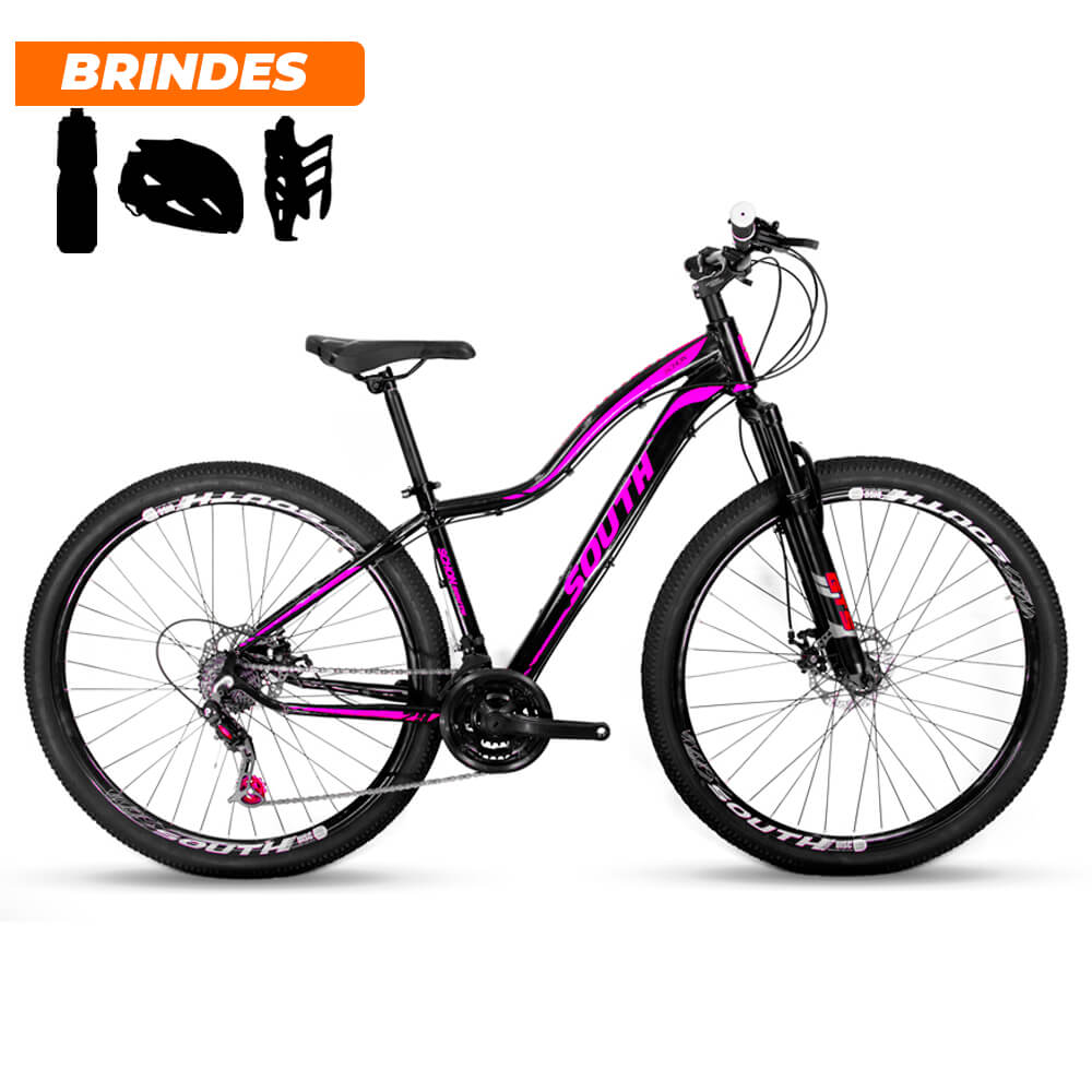 Bicicleta Mtb South Schon 21v Câmbios Shimanos Preto e Rosa