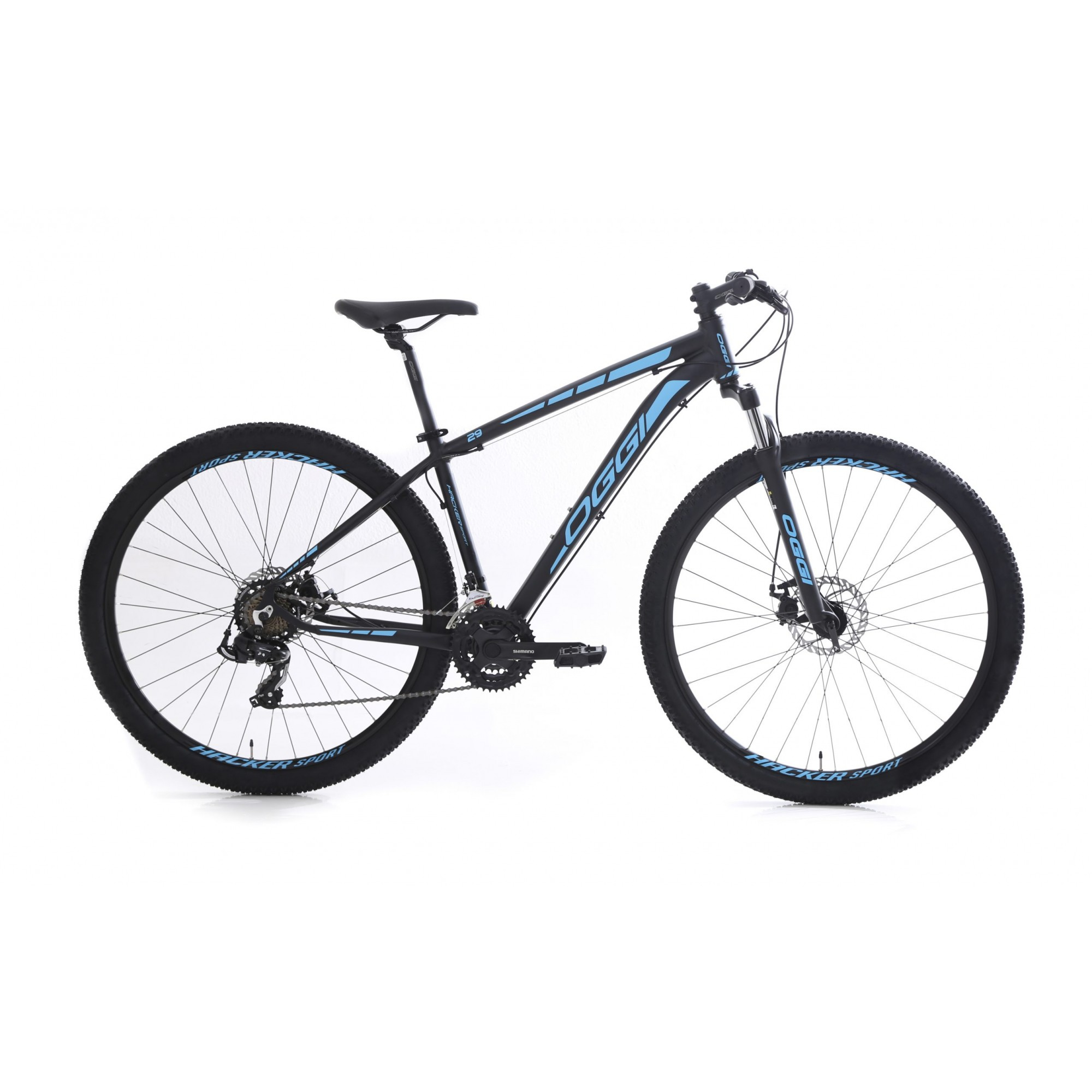 Bicicleta Oggi Aro 29 Hacker Sport Preto e Azul Tourney
