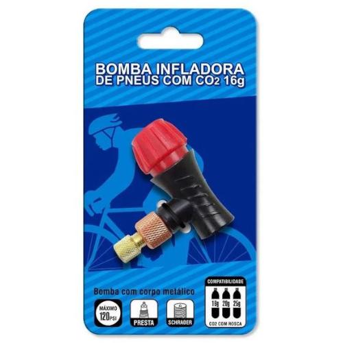 Bomba Inflador De Pneus Para Co2 16g Presta Ou Schrader
