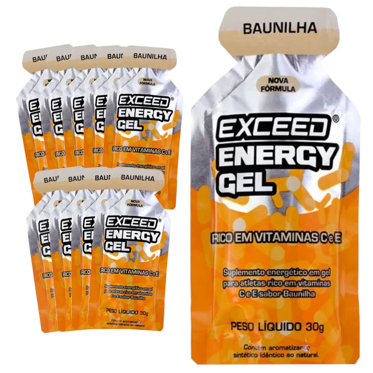 Caixa Gel Carboidrato Exceed Energy Baunilha 10un
