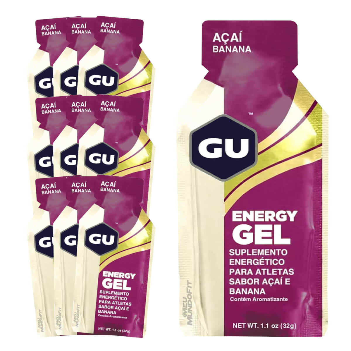 Caixa Gel Carboidrato Gu Energy Sabor Açai com Banana 10un