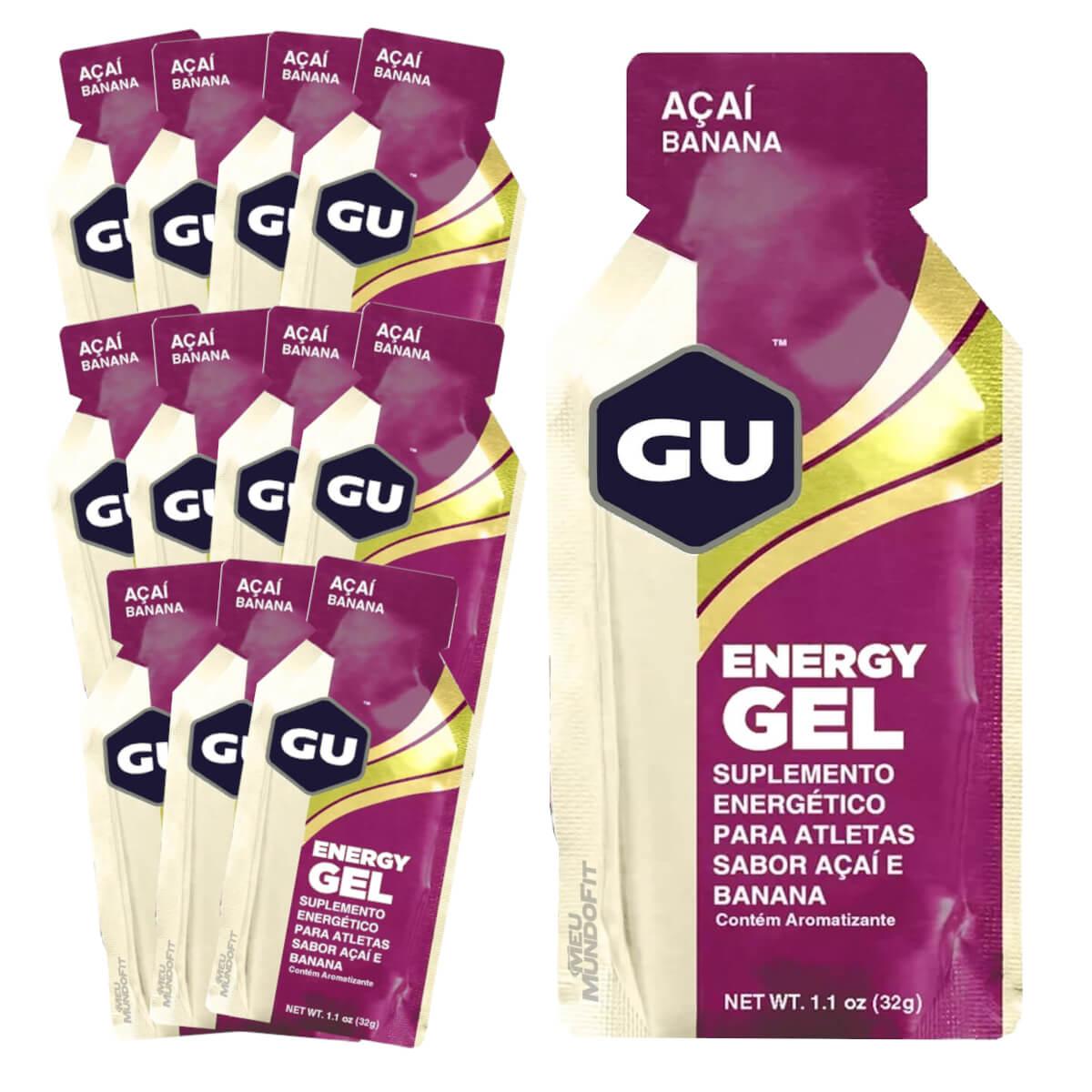 Caixa Gel Carboidrato Gu Energy Sabor Açai com Banana 12un