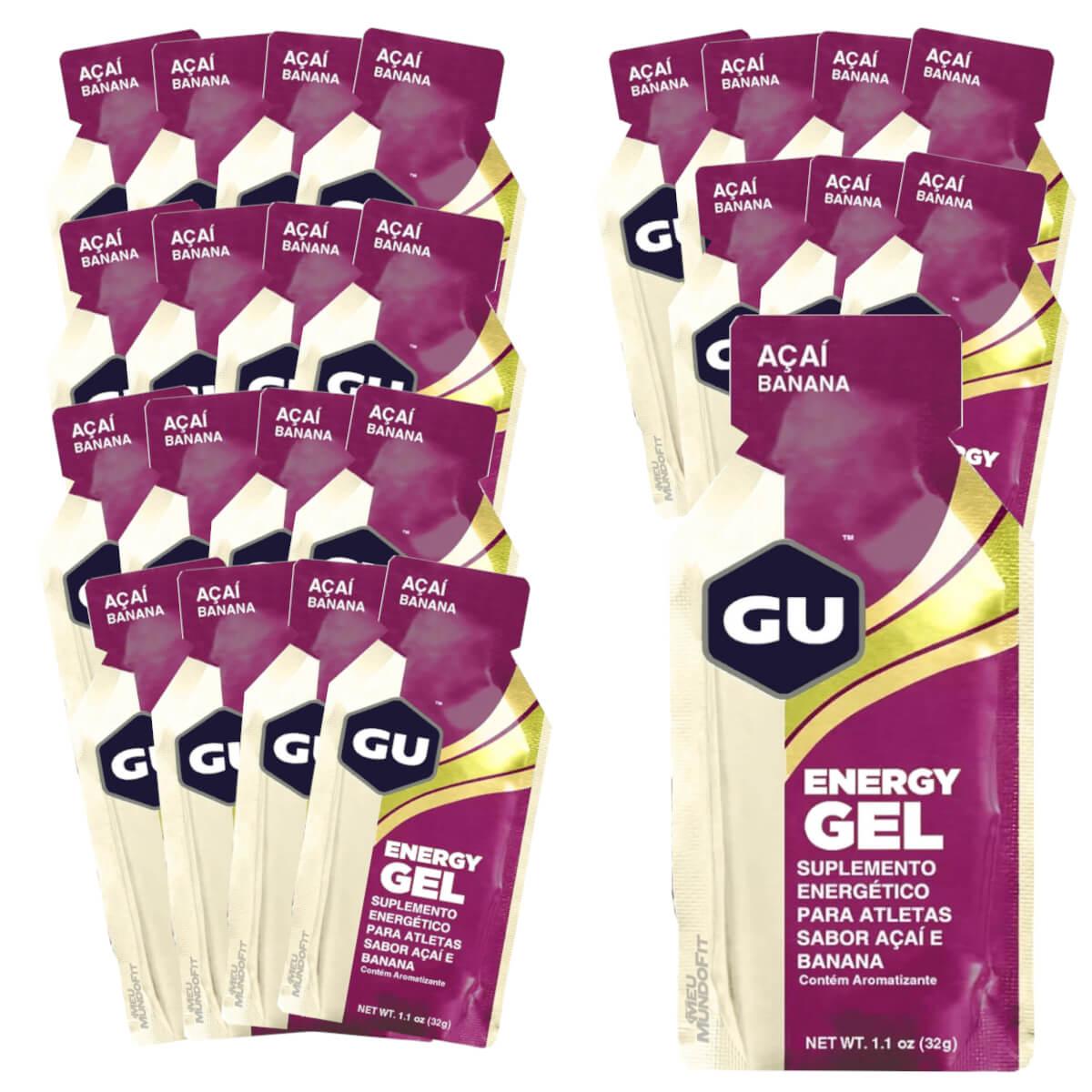 Caixa Gel Carboidrato Gu Energy Sabor Açai com Banana 24un