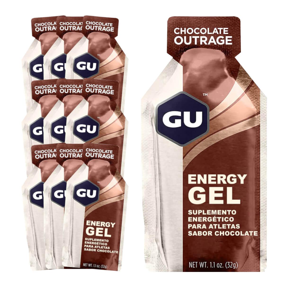 Caixa Gel Carboidrato Gu Energy Sabor Chocolate Belga 10un