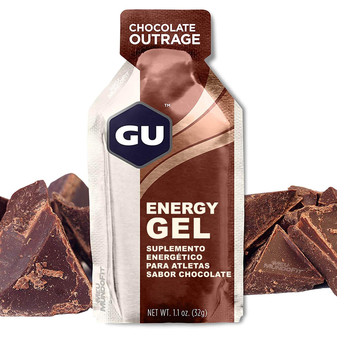 Caixa Gel Carboidrato Gu Energy Sabor Chocolate Belga 12un