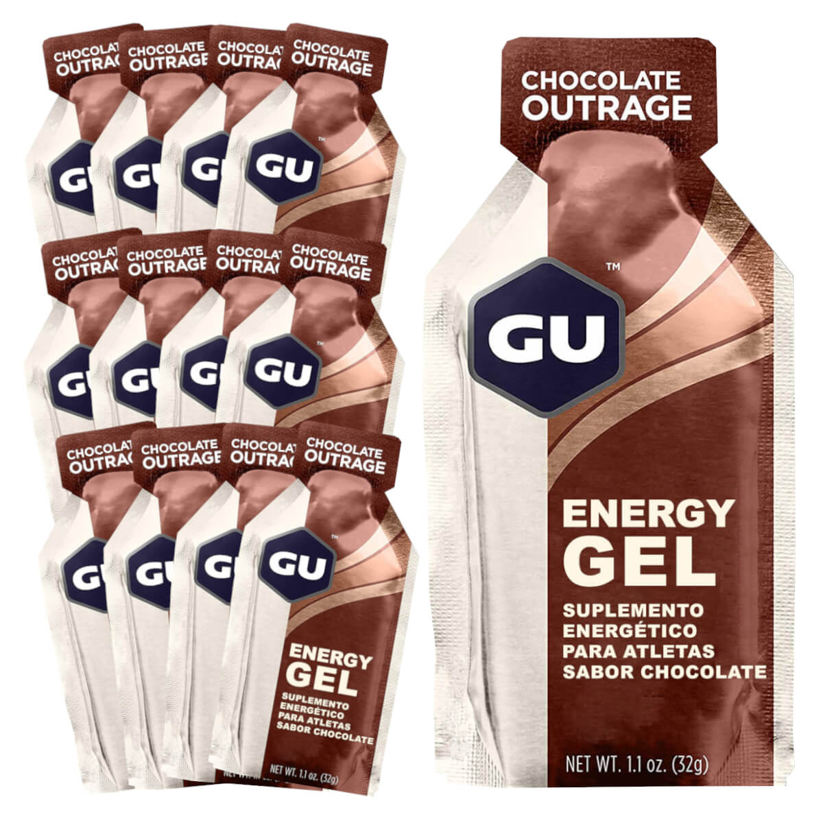 Caixa Gel Carboidrato Gu Energy Sabor Chocolate Belga 12un