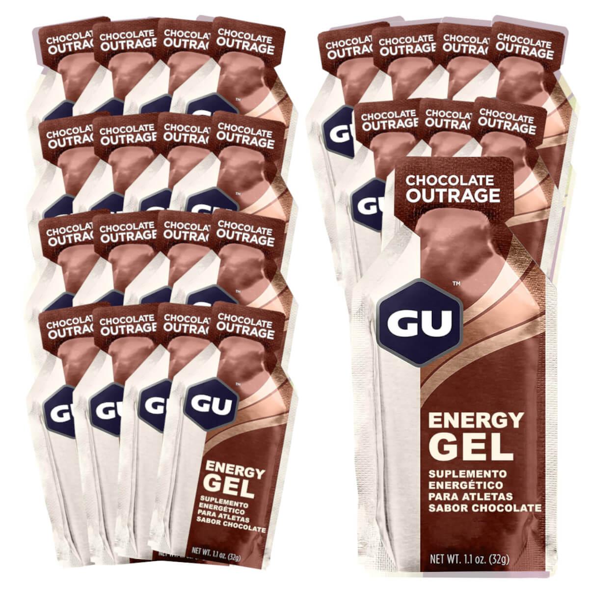 Caixa Gel Carboidrato Gu Energy Sabor Chocolate Belga 24un