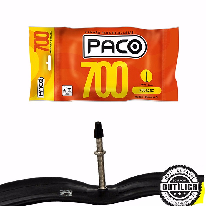 Câmara Bicicleta speed Paco 700X25C 48mm Bico Fino Presta