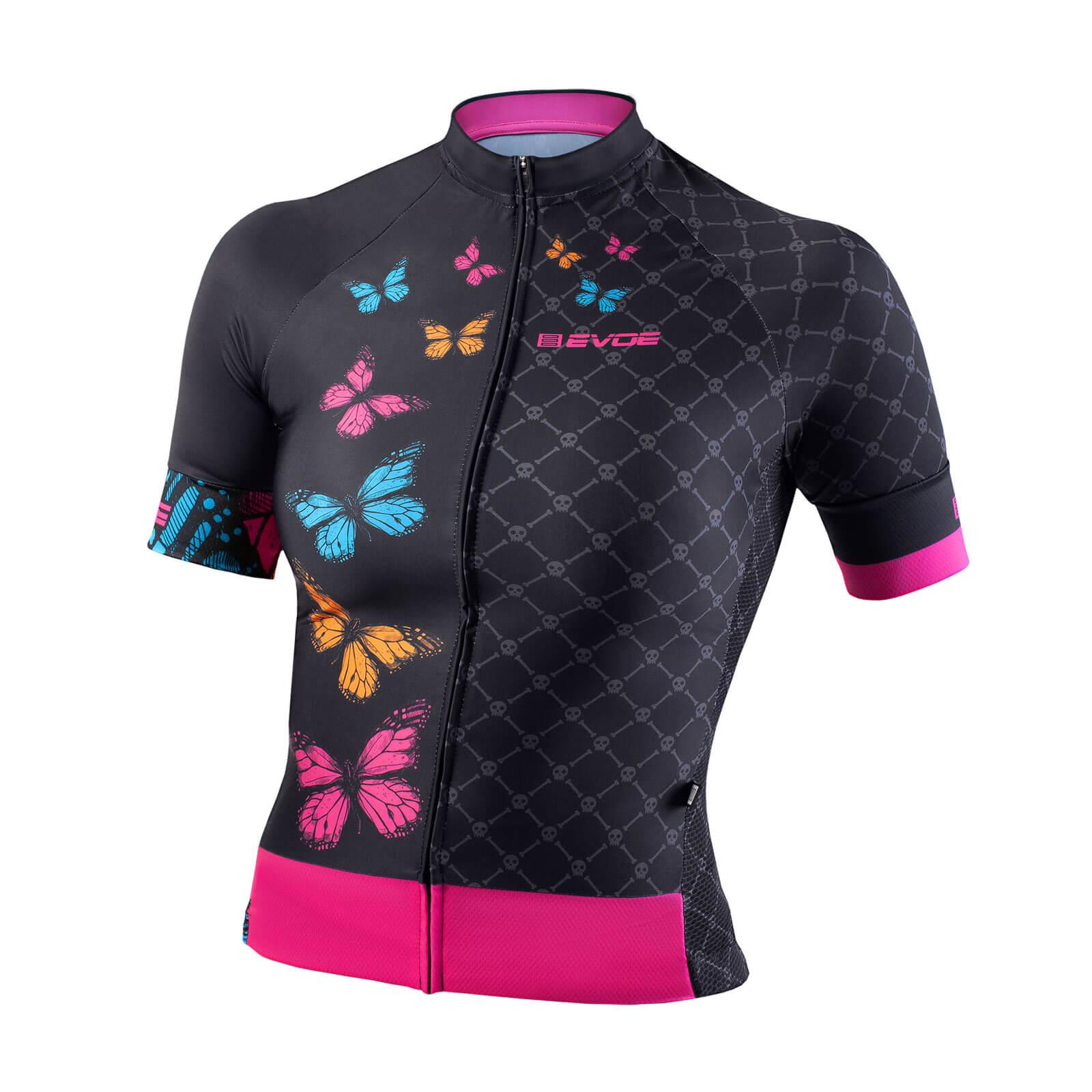 Camisa Ciclismo Evoe Feminina Preto Borboletas Bolso Zipper