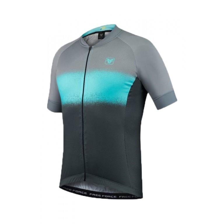 Camisa Ciclismo Masculino Free Force Smear Cinza e Azul