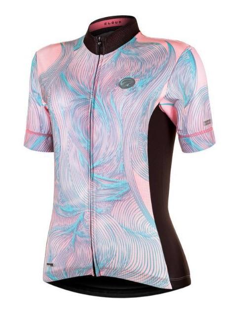 Camisa Ciclismo Mauro Ribeiro Feminina Cloud Rosa e Verde