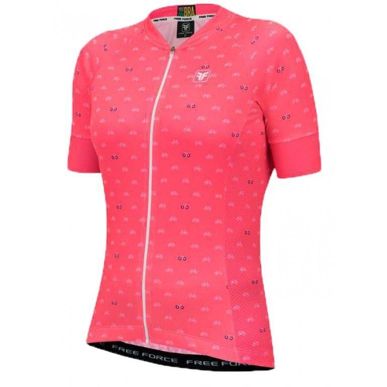 Camisa de Ciclismo Feminina Free Force Sport Cycles Coral