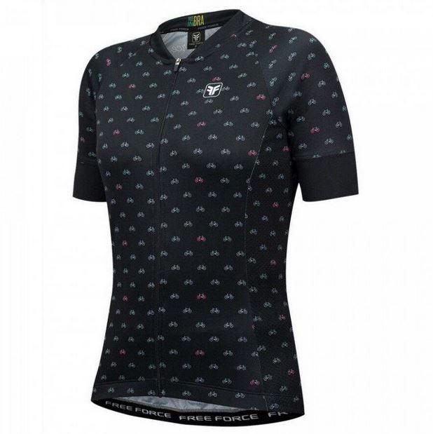 Camisa de Ciclismo Feminina Free Force Sport Cycles Preta