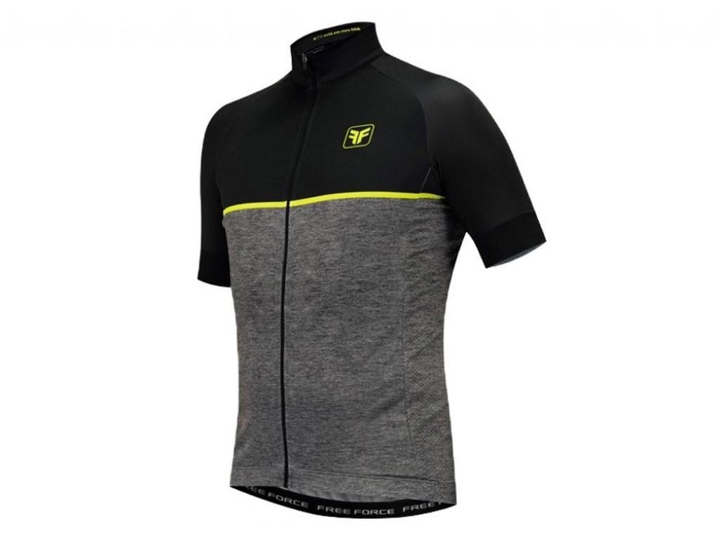 Camisa de Ciclismo Masculino Free Force First Cinza Preto