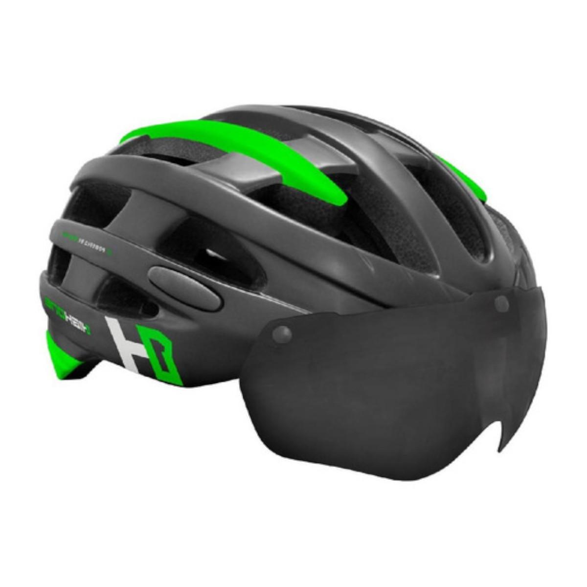Capacete Bike Casco Com Óculos High One Preto e Verde