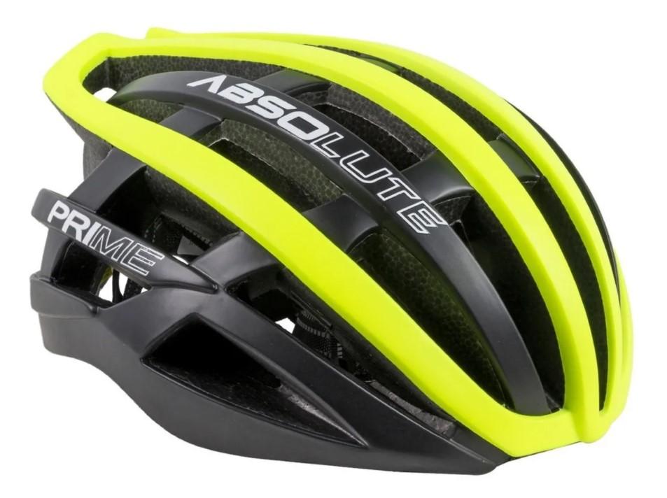 Capacete Ciclismo Absolute Prime Preto e Amarelo Neon