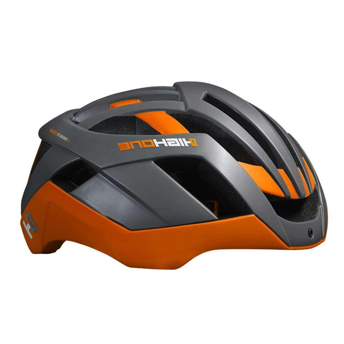 Capacete Ciclismo Bike High One Pro Space Cinza e Laranja