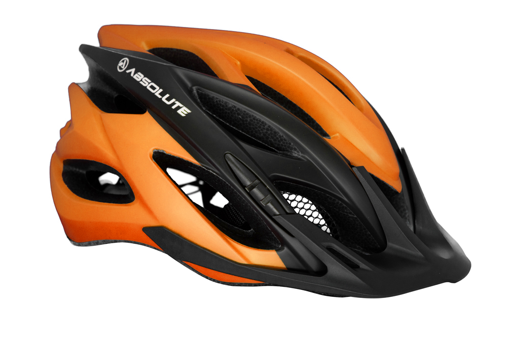 Capacete Ciclismo MTB Absolute Wild Com Led Laranja e Preto