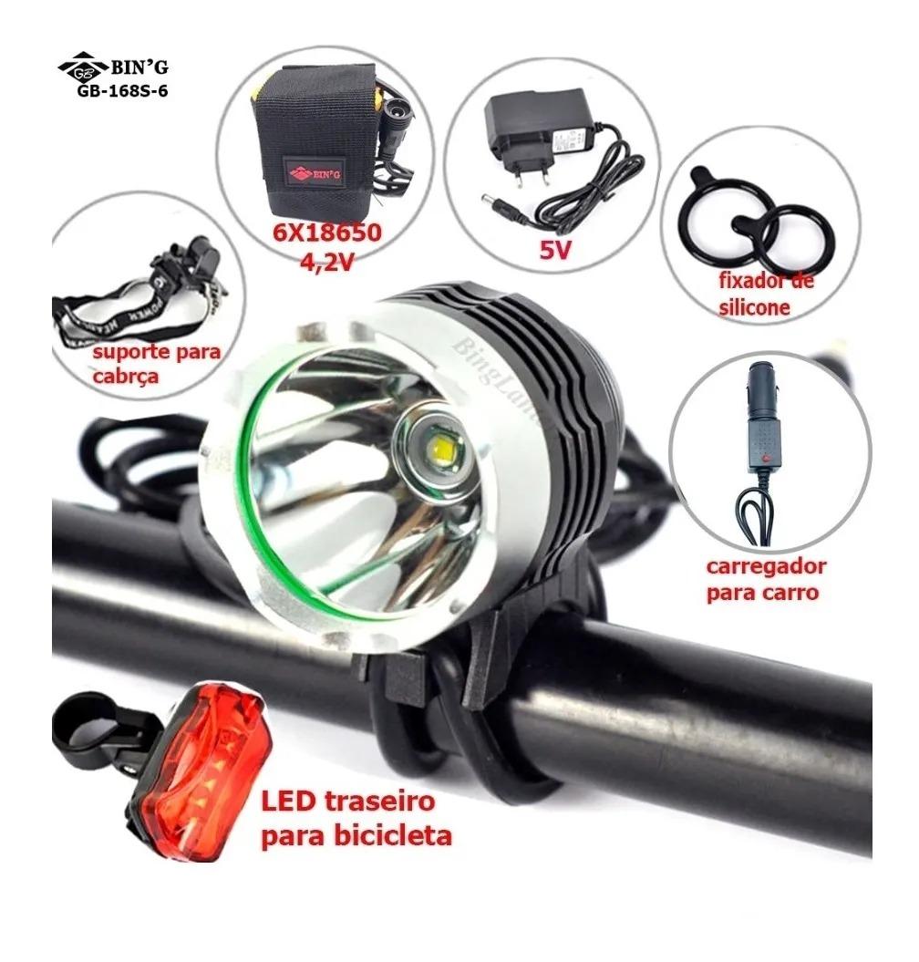 Farol Led Para Bike Bateria 06 Celulas Foco Fixo 1000 Lumens