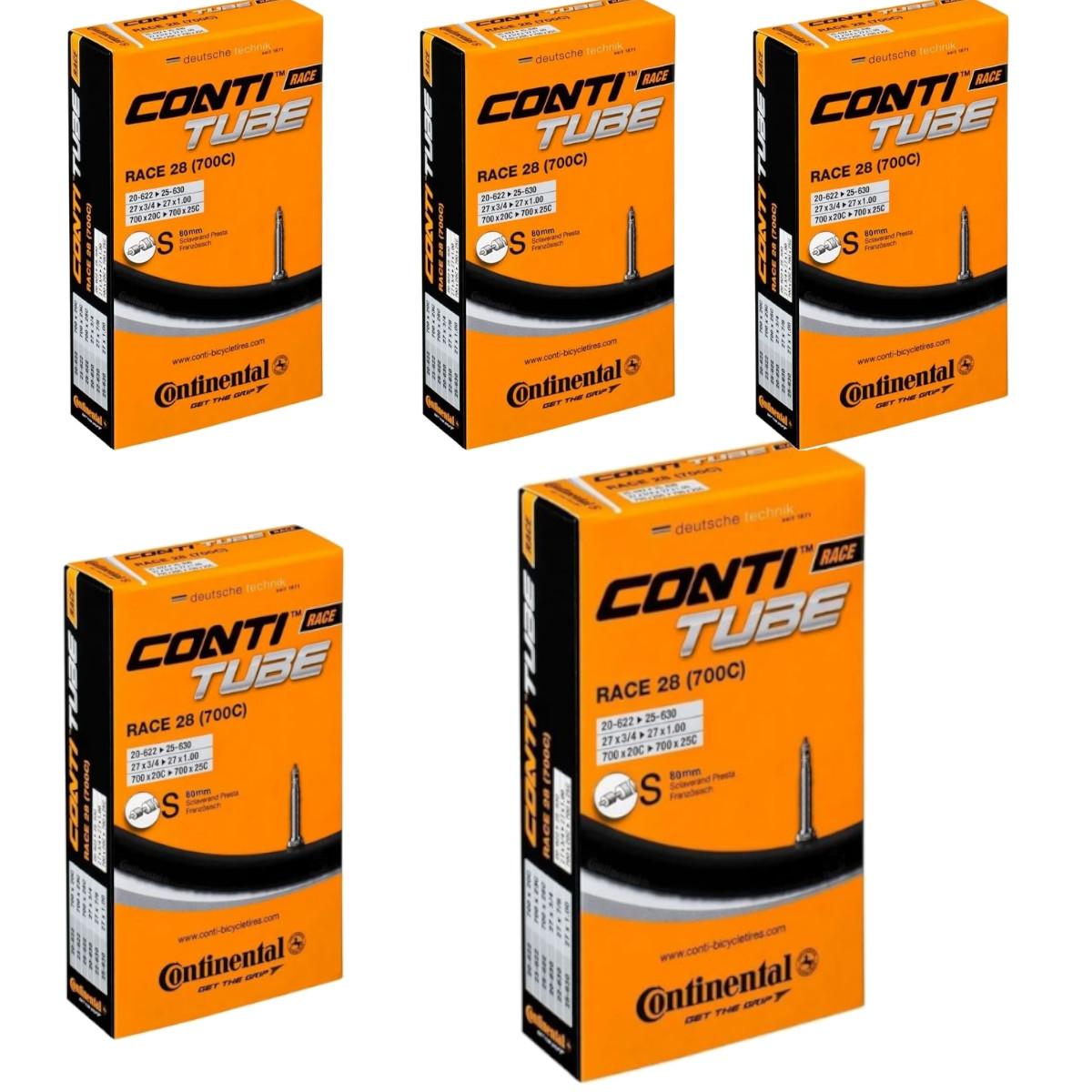 Kit 5 Câmaras Ar Speed Continental Race 700 18-25 Valv 80mm