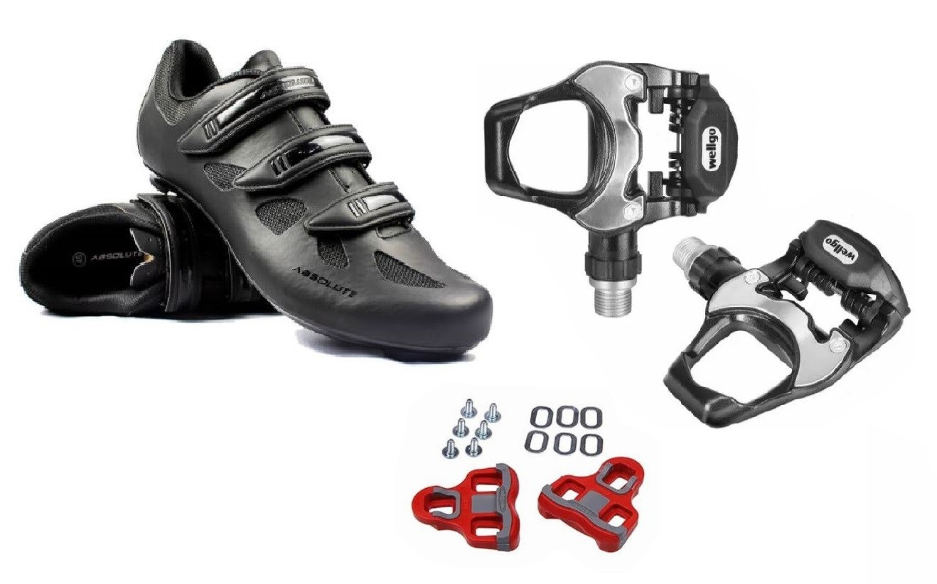 Kit Pedal Wellgo R251 +  Sapatilha Speed Absolute Nero Nº 39
