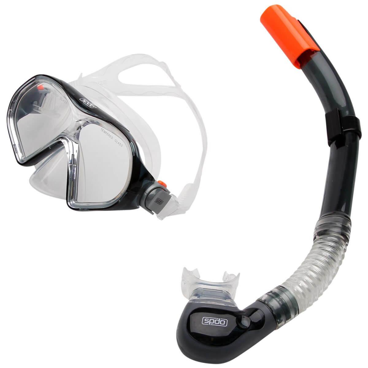 Kit Speedo Belize Snorkel e Máscara Fumê Lente Transparente
