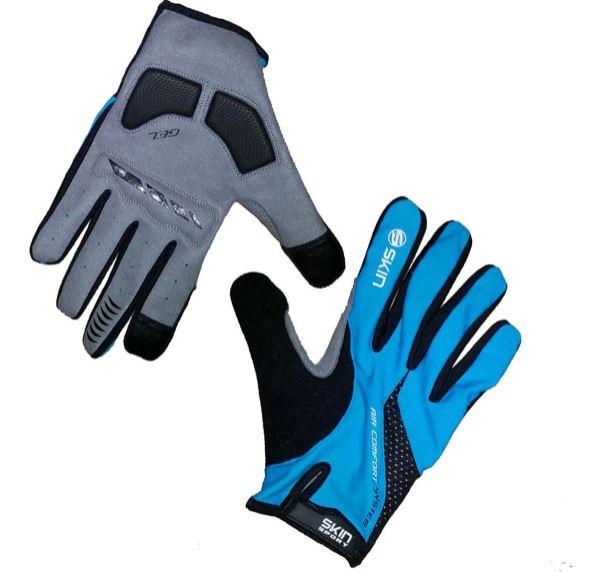 Luva Ciclismo Skin Sport Dedo Longo Air Gel Preto e Azul