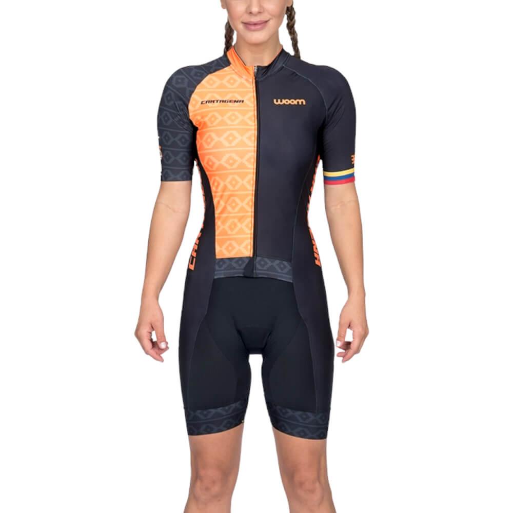 Macaquinho Ciclismo Woom Supreme Cartagena Laranja Feminino
