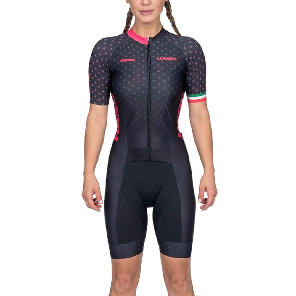Macaquinho Ciclismo Woom Supreme Preto e Rosa Feminino