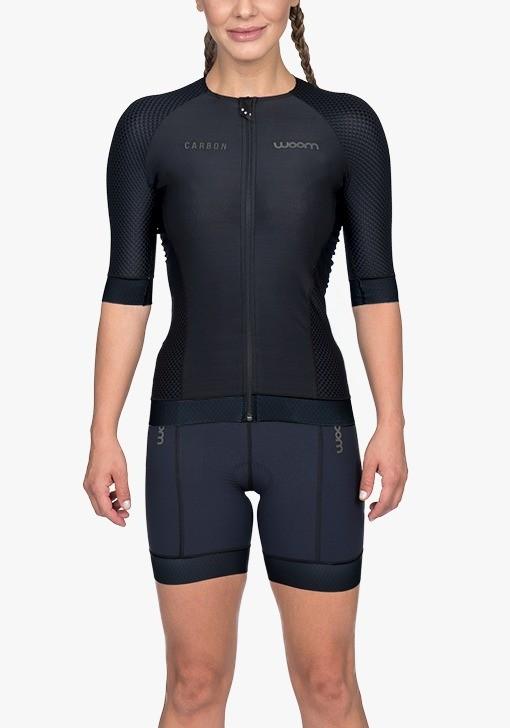 Macaquinho Triathlon Woom Carbon Black com manga feminino