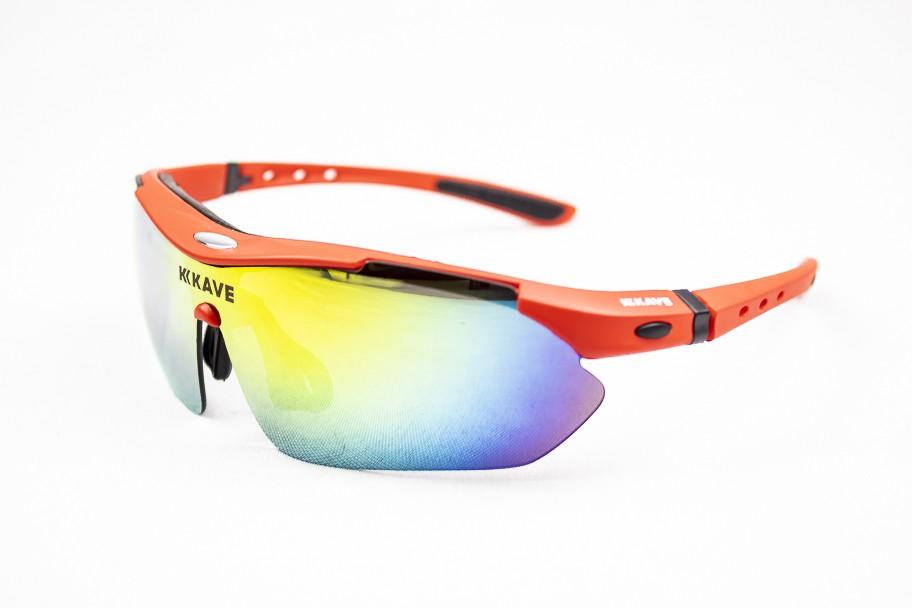 Óculos Ciclismo Kave Flow 3 Lentes Vermelho Lente Grau