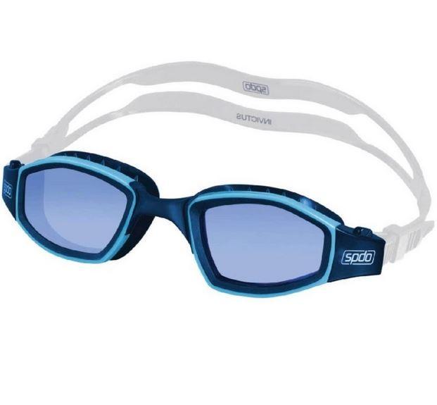 Óculos De Natação Speedo Invictus Marinho Lente Azul