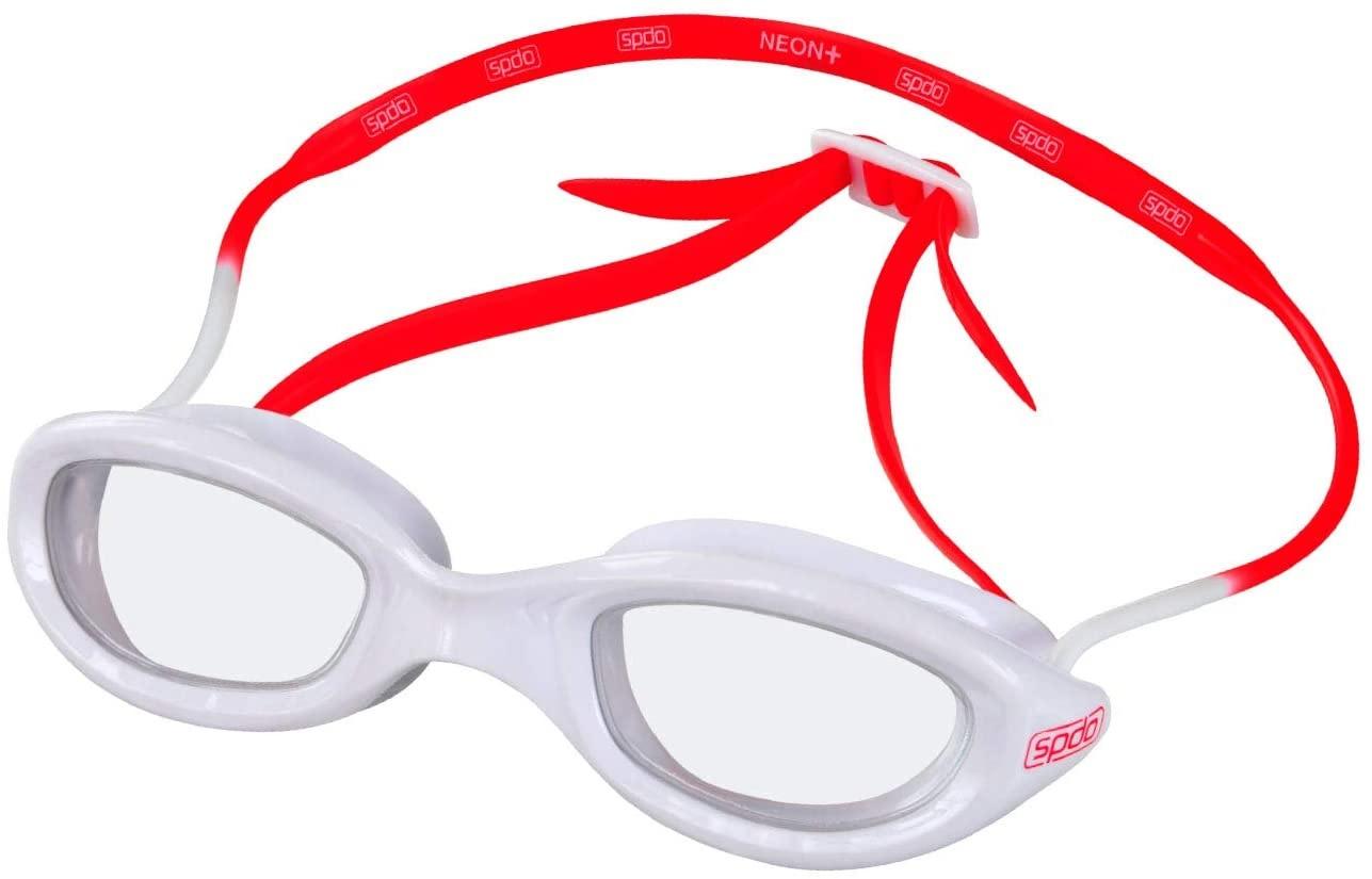 Óculos De Natação Speedo Neon Plus Bco Vermelho Lente Transp