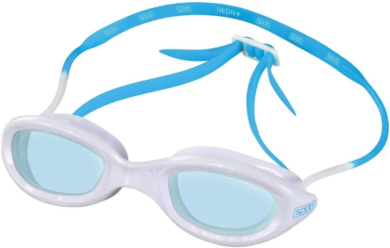 Óculos De Natação Speedo Neon Plus Branco Azul Lente Azul
