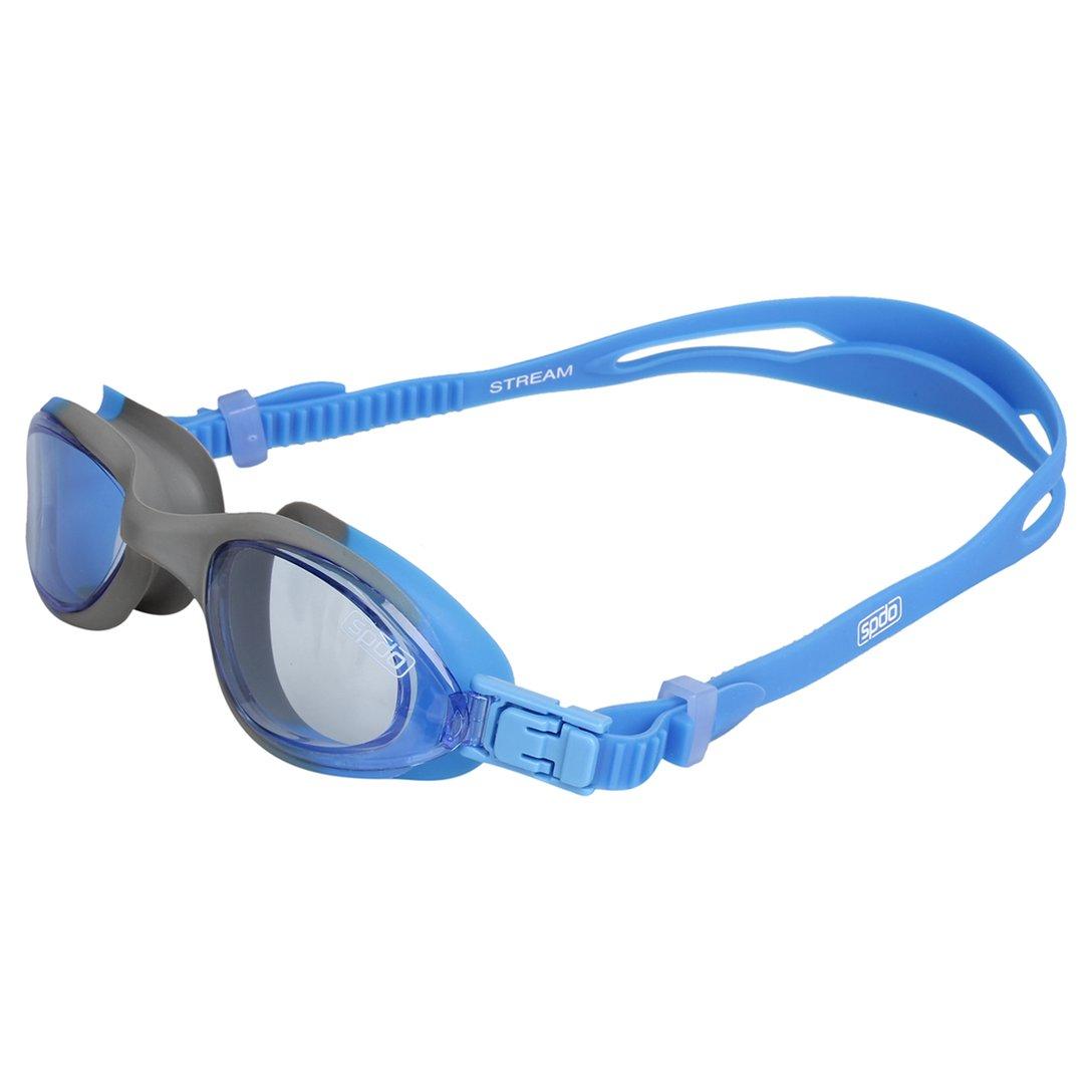 Óculos de Natação Speedo Stream Cinza Azul Lente Azul