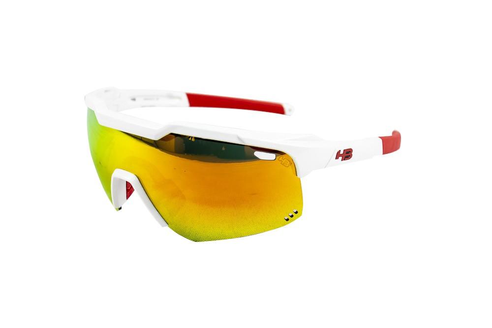 Óculos Hb Shield Evo Road Branco e Vermelho Lente Multi Red