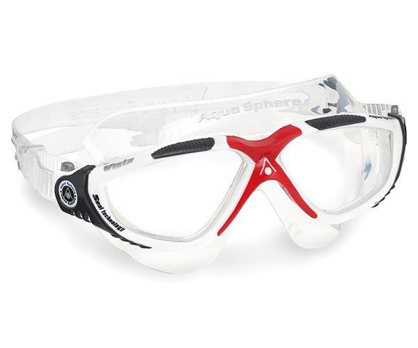 Óculos Natação Aqua Sphere Vista Branco Vermelho Cristal