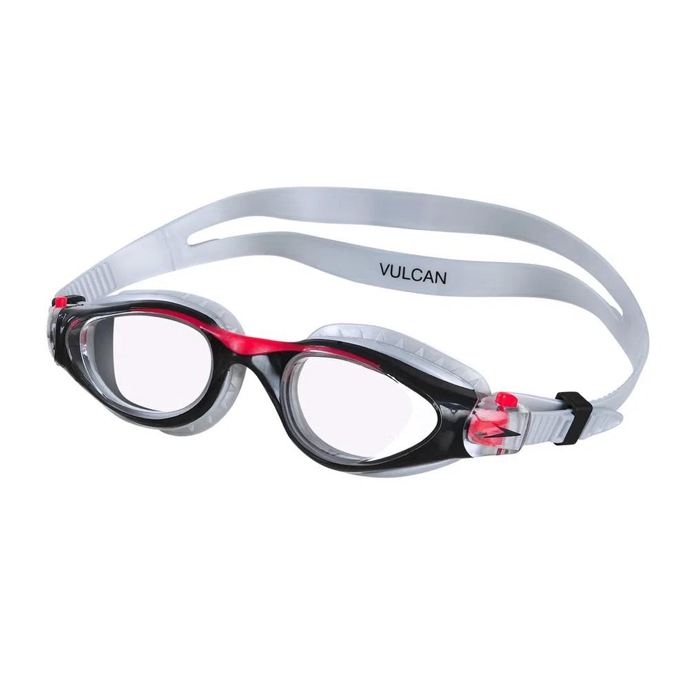 Óculos Natação Speedo Vulcan Prata Preto Lente Transparente